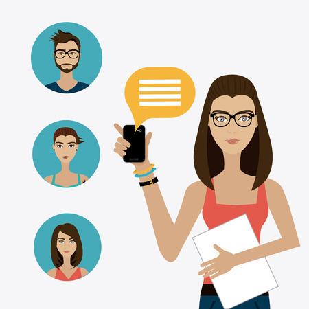 Chat mobile design over white background, vector illustration. Illustration