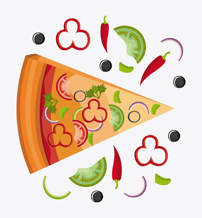 organic peppers sign: Pizza design over white background, vector illustration.