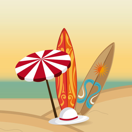 umbrela: Summer design over beachscape design, vector illustration.
