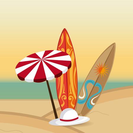 umbrela: Summer design over beachscape design, vector illustration.