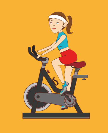 static bike: Fitness design over yellow background, vector illustration.
