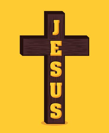 cristianismo: Diseño cristianismo sobre fondo amarillo, ilustración vectorial.