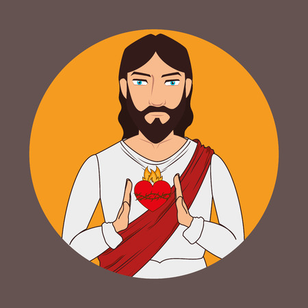 Christianity design over brown background, vector illustration. Vector