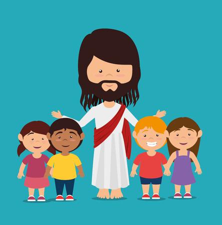 catholicism: Christianity design over blue background, vector illustration. Illustration