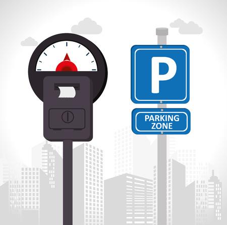 Parkeergelegenheid ontwerp op een witte achtergrond, vector illustratie. Stock Illustratie