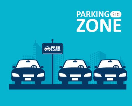 青色の背景にデザインを駐車場、ベクトル イラストです。  イラスト・ベクター素材