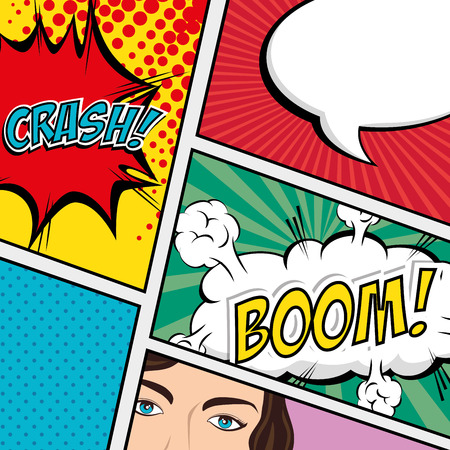 word of mouth: Comic design ove colorful background, vector illustration. Illustration