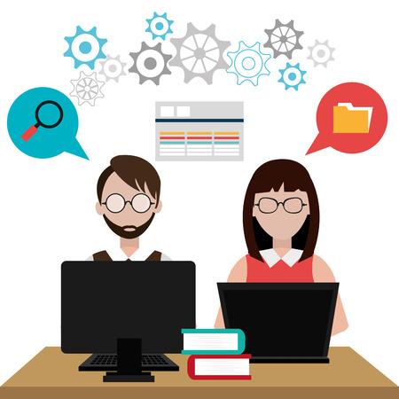 software engineering: Software design over white background, vector illustration. Illustration