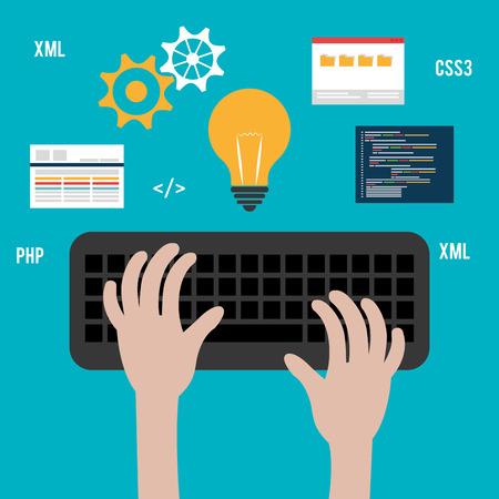 Software design over white background, vector illustration. Illustration