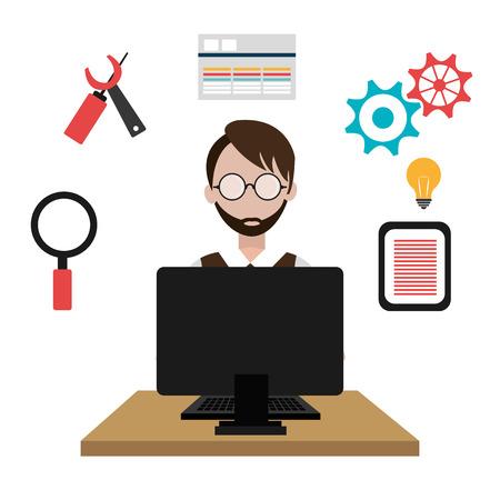 Software ontwerp op een witte achtergrond, vector illustratie.