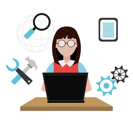 system development: Software design over white background, vector illustration. Illustration