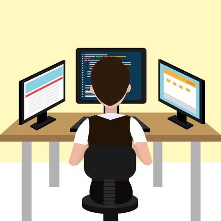 Software ontwerp over beige achtergrond, vector illustratie.