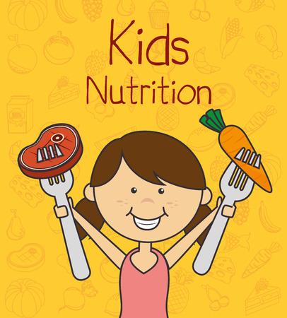 kids eating: Food design over yellow