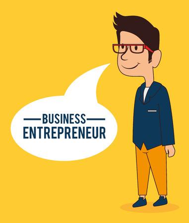 entrepeneur: Business design over yellow background, vector illustration. Illustration