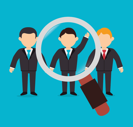executive search: Business design over blue background, vector illustration.