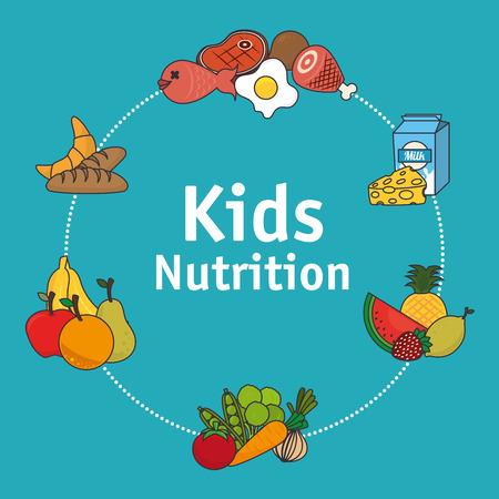 comida sana: Diseño de la Alimentación sobre fondo azul, ilustración vectorial.