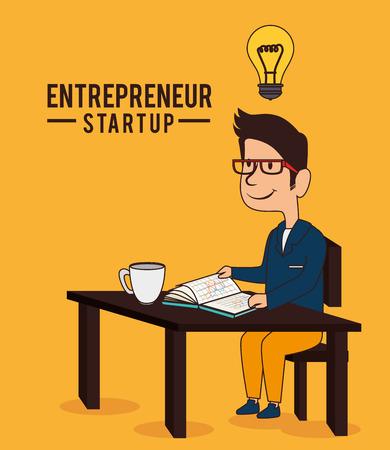 entrepeneur: Business design over orange background, vector illustration. Illustration