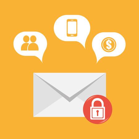 Email design over white background, vector illustration.