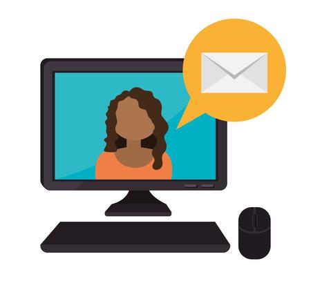 smart woman: Email design over white background, vector illustration.