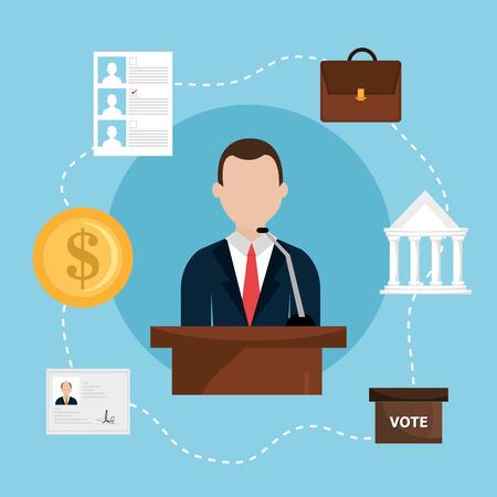 politics: Politics design over blue background, vector illustration. Illustration