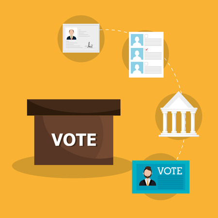 politics: Politics design over yellow background, vector illustration. Illustration
