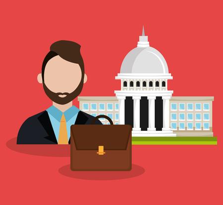 voter: Politics design over red background, vector illustration.