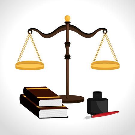 Law design over white background, vector illustration. Ilustração