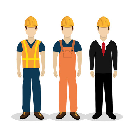 worker construction: Construction design over white background ,vector illustration. Illustration
