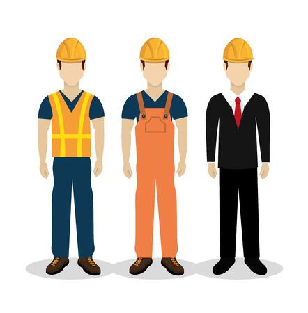 obreros trabajando: El dise�o de la construcci�n sobre el fondo blanco, ilustraci�n vectorial. Vectores