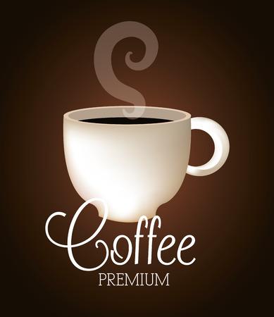 fond brun: conception de caf� sur fond brun, illustration vectorielle.