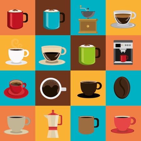 taza: Dise�o del caf� sobre fondo de colores, ilustraci�n vectorial.