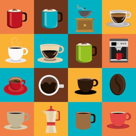 chicchi di caffè: Disegno del caff� su sfondo colorato, illustrazione vettoriale.