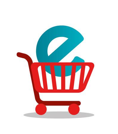 internet explorer: Shopping design over white background, vector illustration.