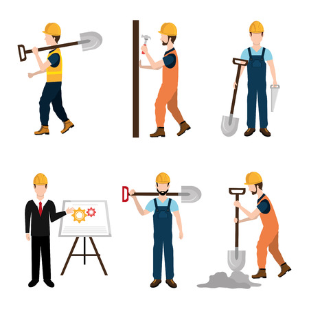 industrial worker: Construction design over white background ,vector illustration. Illustration