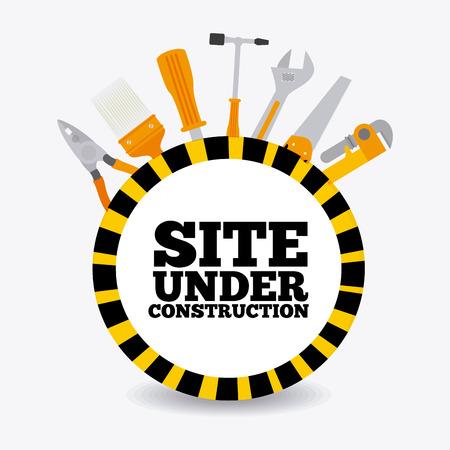 warning saw: Under construction design over white background, vector illustration. Illustration