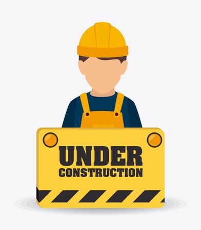 construction workers: Under construction design over white background, vector illustration. Illustration