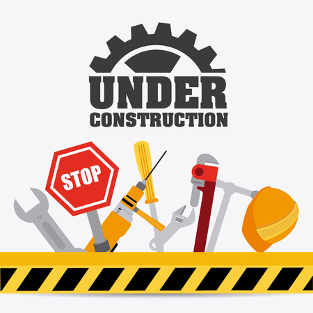 construction industry: Under construction design over white background, vector illustration. Illustration