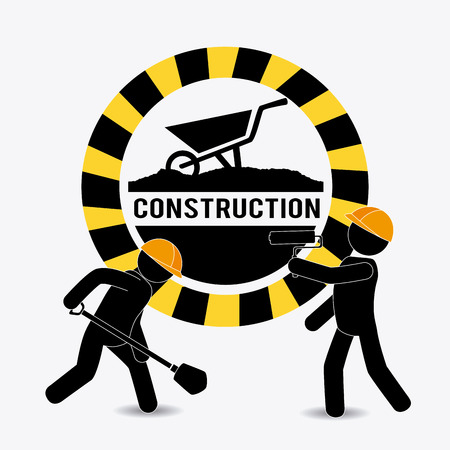 industrial construction: Under construction design over white background, vector illustration. Illustration