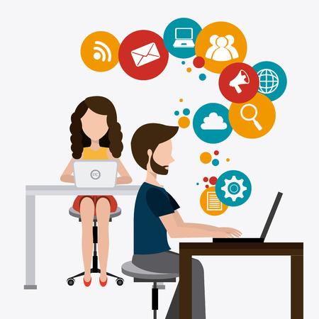 Conception de coworking sur fond blanc, illustration vectorielle. Banque d'images - 40417179