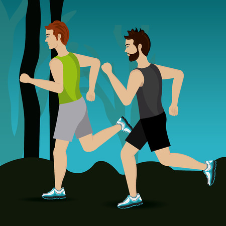 jogging in nature: Fitness design over landscape background, vector illustration. Illustration