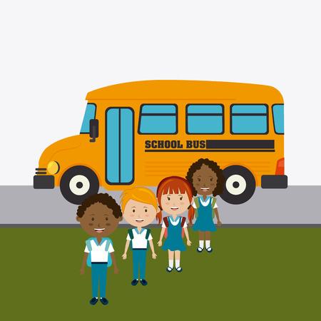niño con mochila: Diseño de la escuela sobre el fondo blanco, ilustración vectorial.