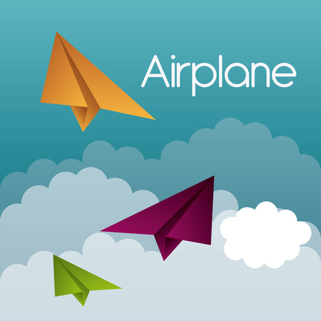 papaer: Airplane design over cloudscape background, vector illustration.