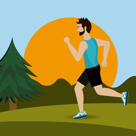 jogging in nature: Fitness design over landscape background, vector illustration. Illustration