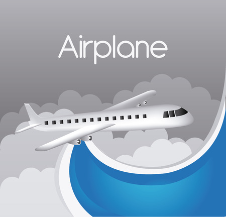 cloudscape: Airplane design over cloudscape background, vector illustration.