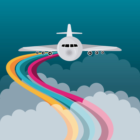 Airplane design over cloudscape background, vector illustration.
