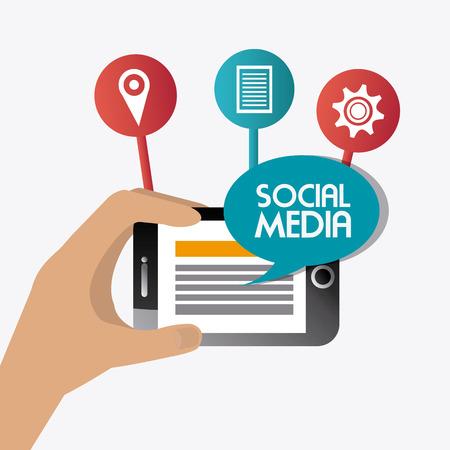 socializando: Dise�o de medios de comunicaci�n social sobre el fondo blanco, ilustraci�n vectorial.