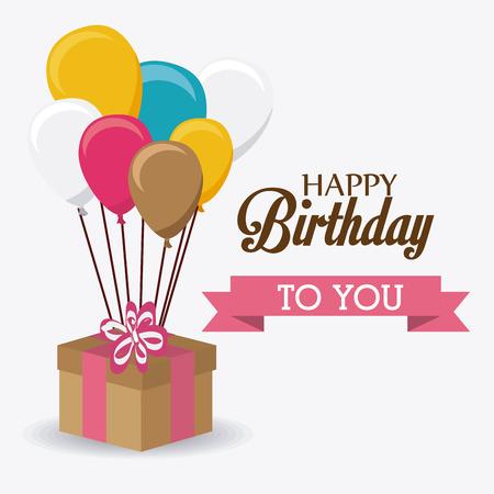Happy birthday card design colorato, illustrazione vettoriale. Archivio Fotografico - 40417624