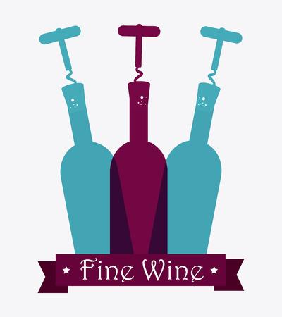 fine cuisine: Wine design over white background, vector illustration. Illustration