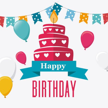 Gelukkige verjaardag kleurrijke kaart ontwerp, vector illustratie. Stockfoto - 40417654