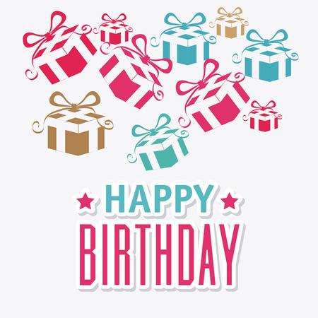 Happy birthday colorful card design, vector illustration. Stock Vector - 40417657